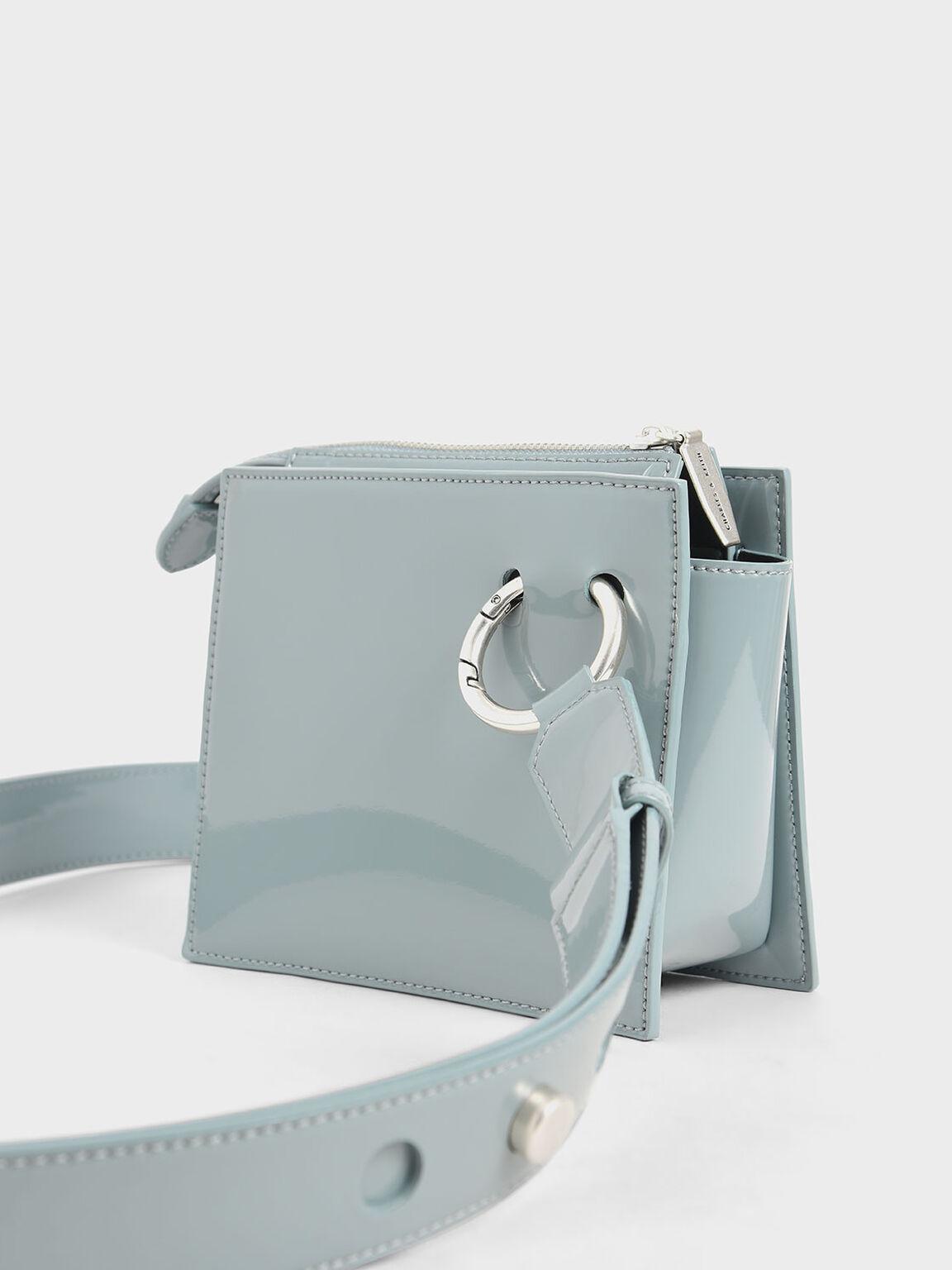 漆面拉鍊式斜背包, 岩藍色, hi-res