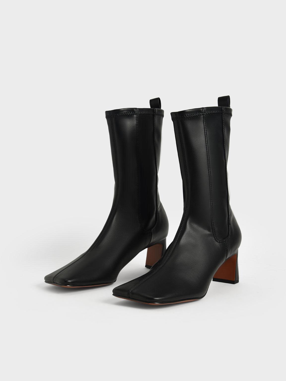 Stitch-Trim Slip-On Calf Boots, Black, hi-res