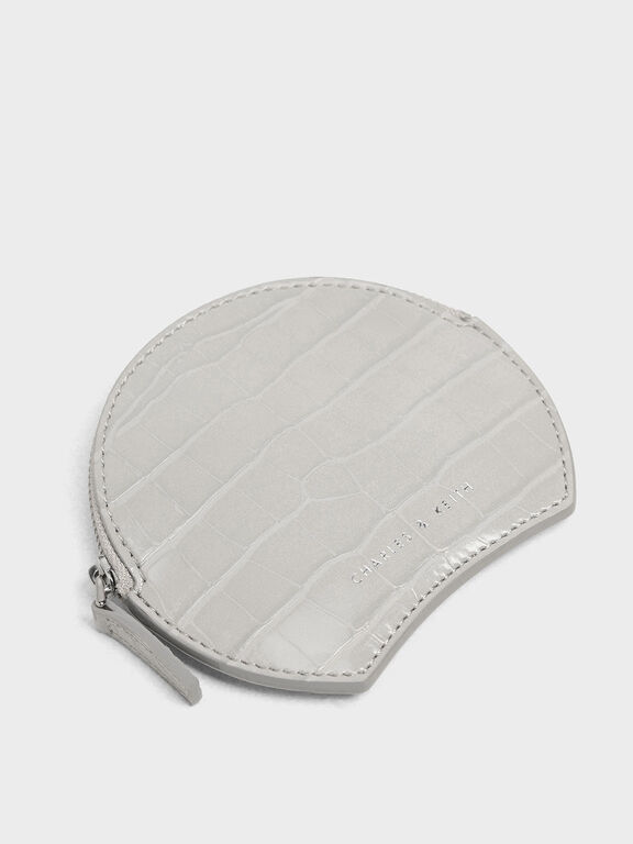 Semi Circle Croc-Effect Mini Pouch, Grey, hi-res