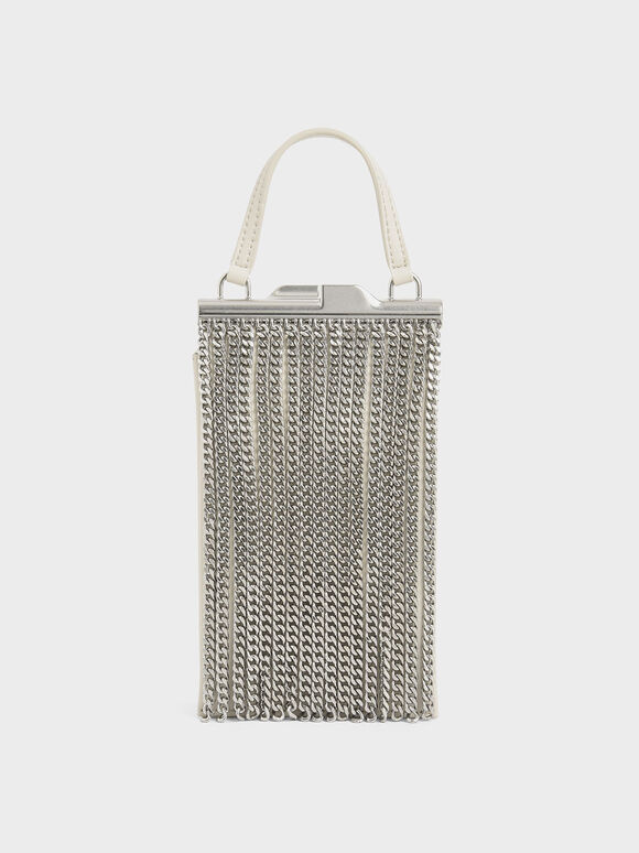 Chain Fringe Elongated Clutch, Cream, hi-res