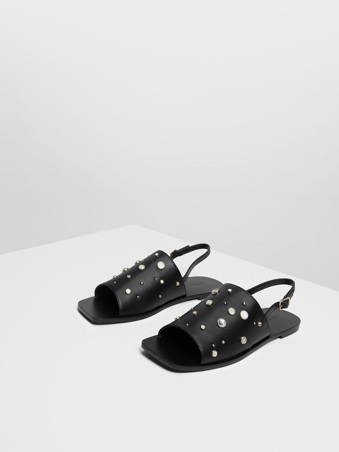 Embellished Square Toe Slingback Sandals, Black, hi-res