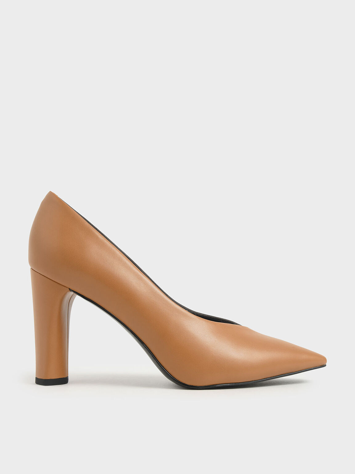 Two-Tone Textured Cylindrical Heel Pumps, Caramel, hi-res