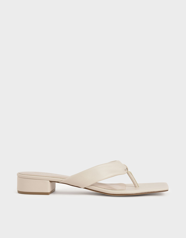 Chalk Puffy Strap Thong Sandals