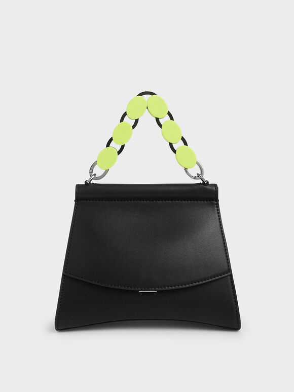 Acrylic Handle Sculptural Bag, Black, hi-res