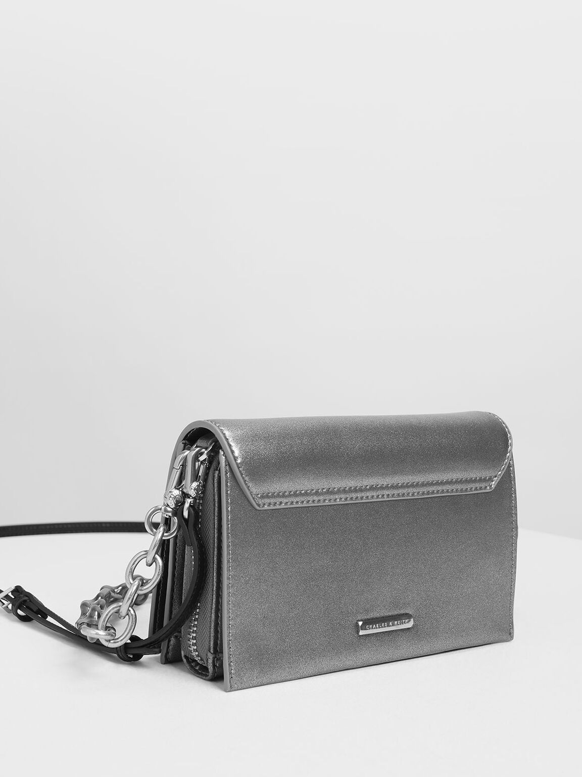 Chain Strap Crossbody Bag, Silver, hi-res