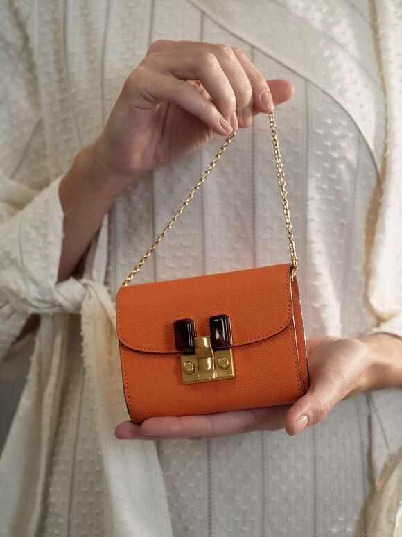Stone-Embellished Mini Wallet, Orange, hi-res