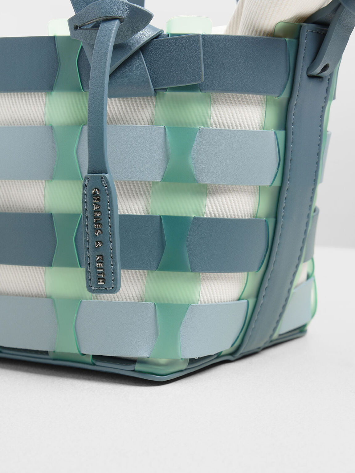 See-Through Woven Bucket Bag, Teal, hi-res
