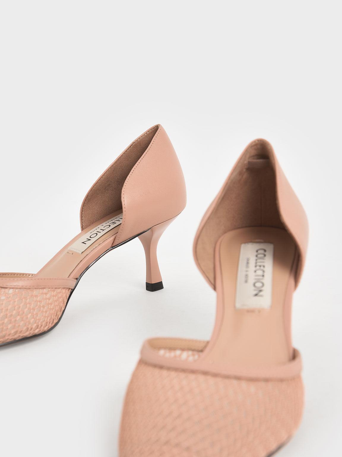真皮網紗奧賽鞋, 膚色, hi-res