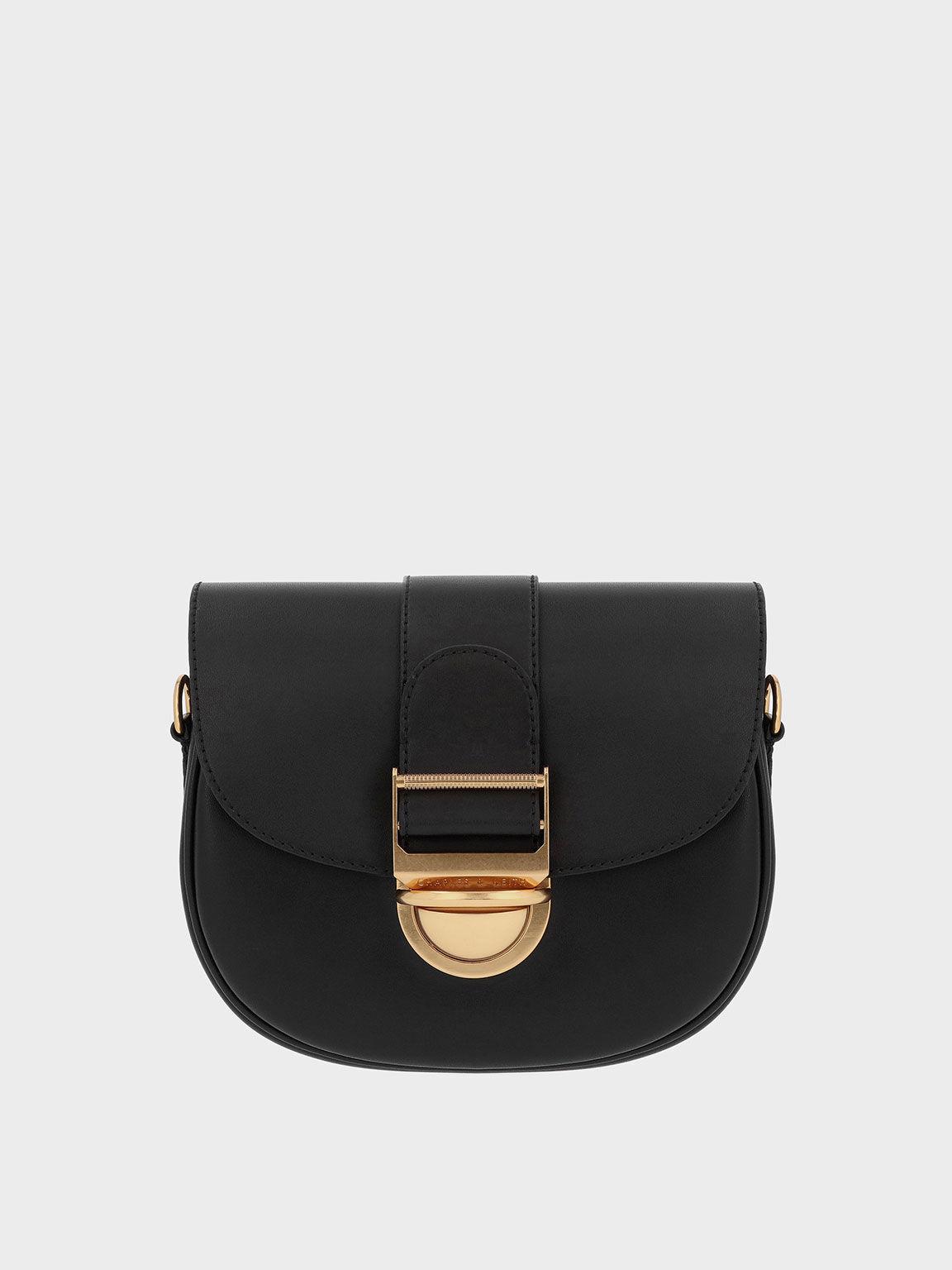 Amelia Metallic Push-Lock Crossbody Bag, Black, hi-res