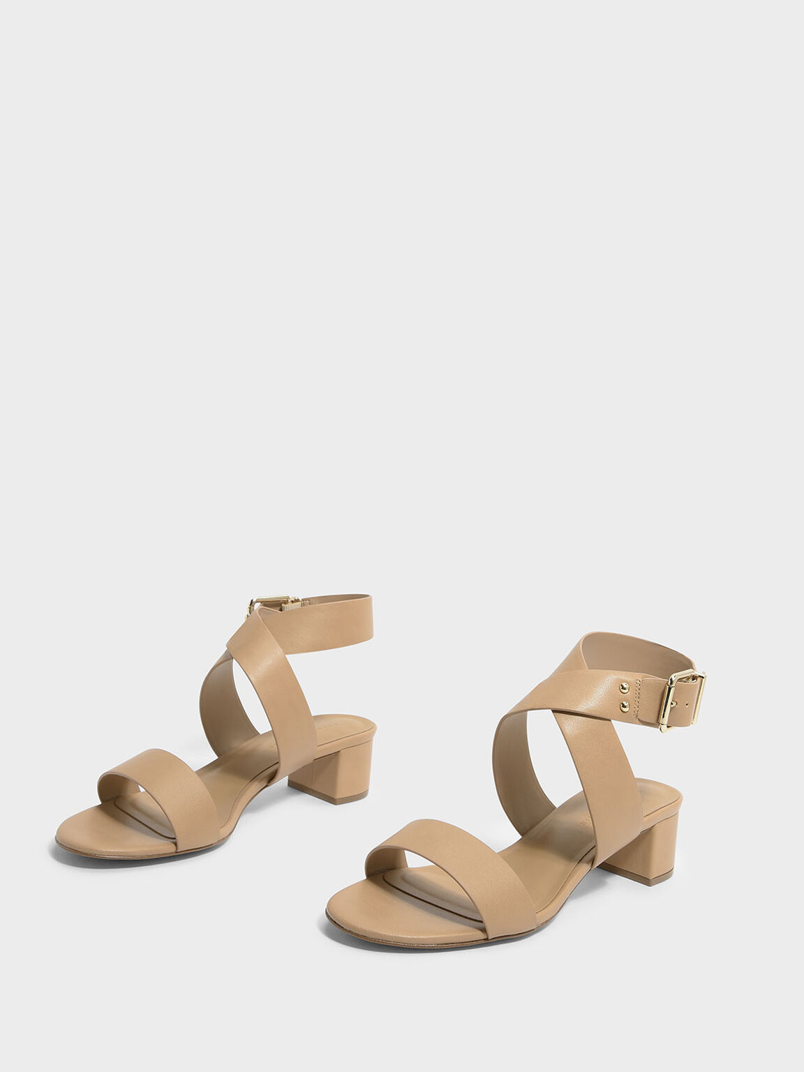 Criss Cross Thick Strap Heeled Sandals, Beige, hi-res