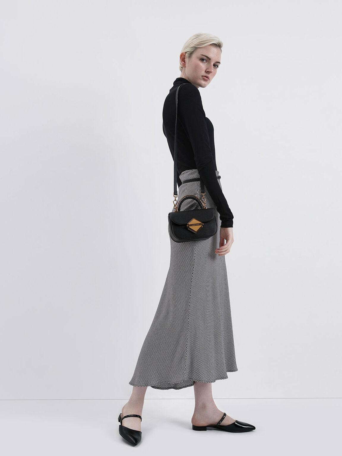 Glossy Embellished Strap Flats, Black, hi-res