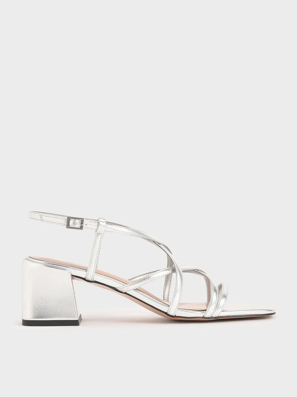 Metallic Criss-Cross Block Heel Sandals, Silver, hi-res