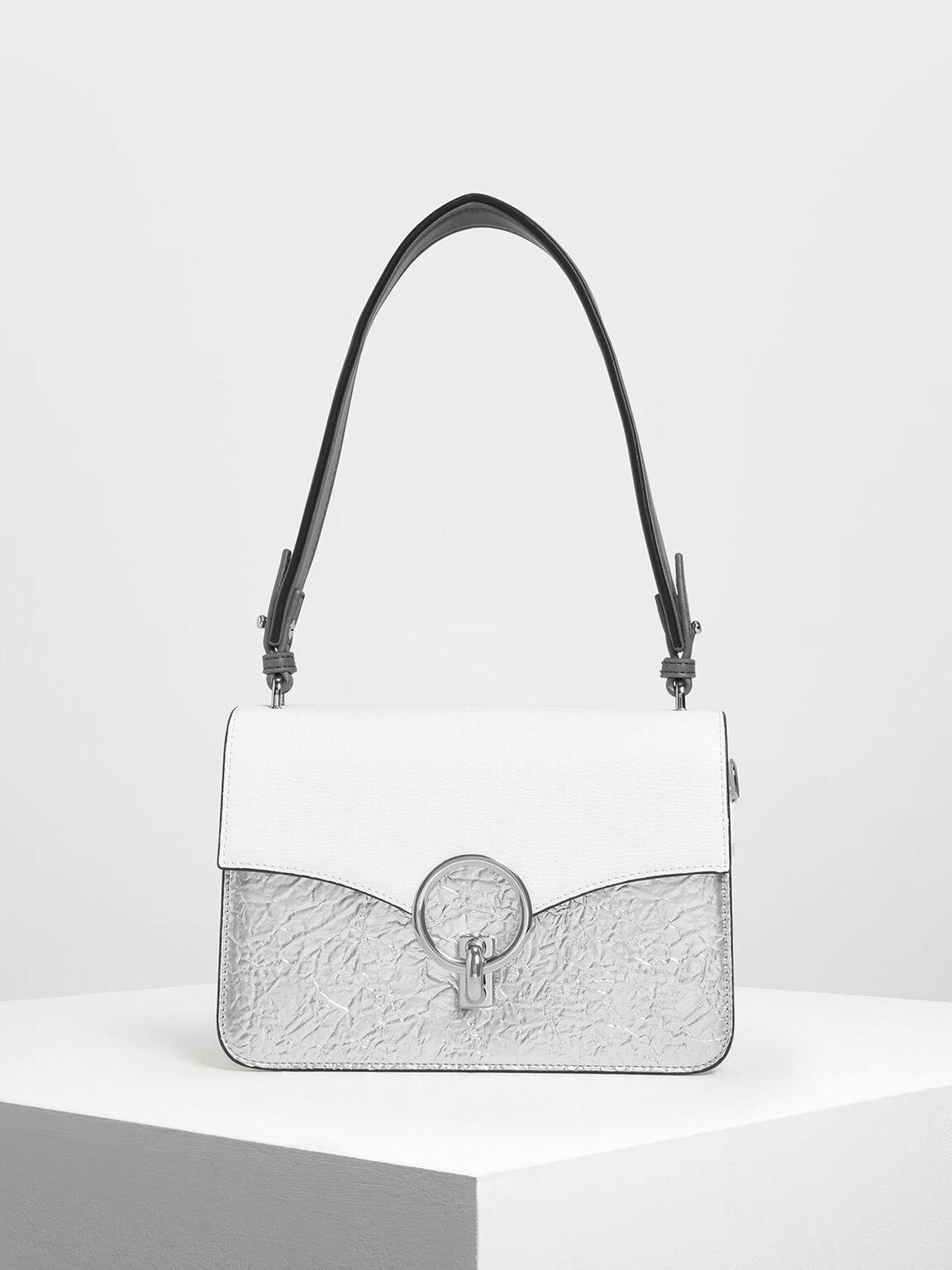Chain Link Shoulder Bag, Silver, hi-res