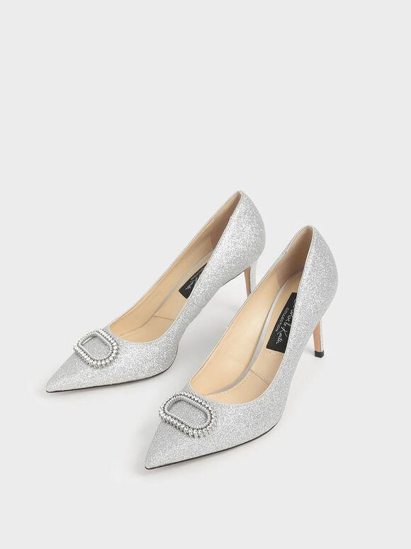 Wedding Collection: Glitter Embellished Pumps, Silver, hi-res