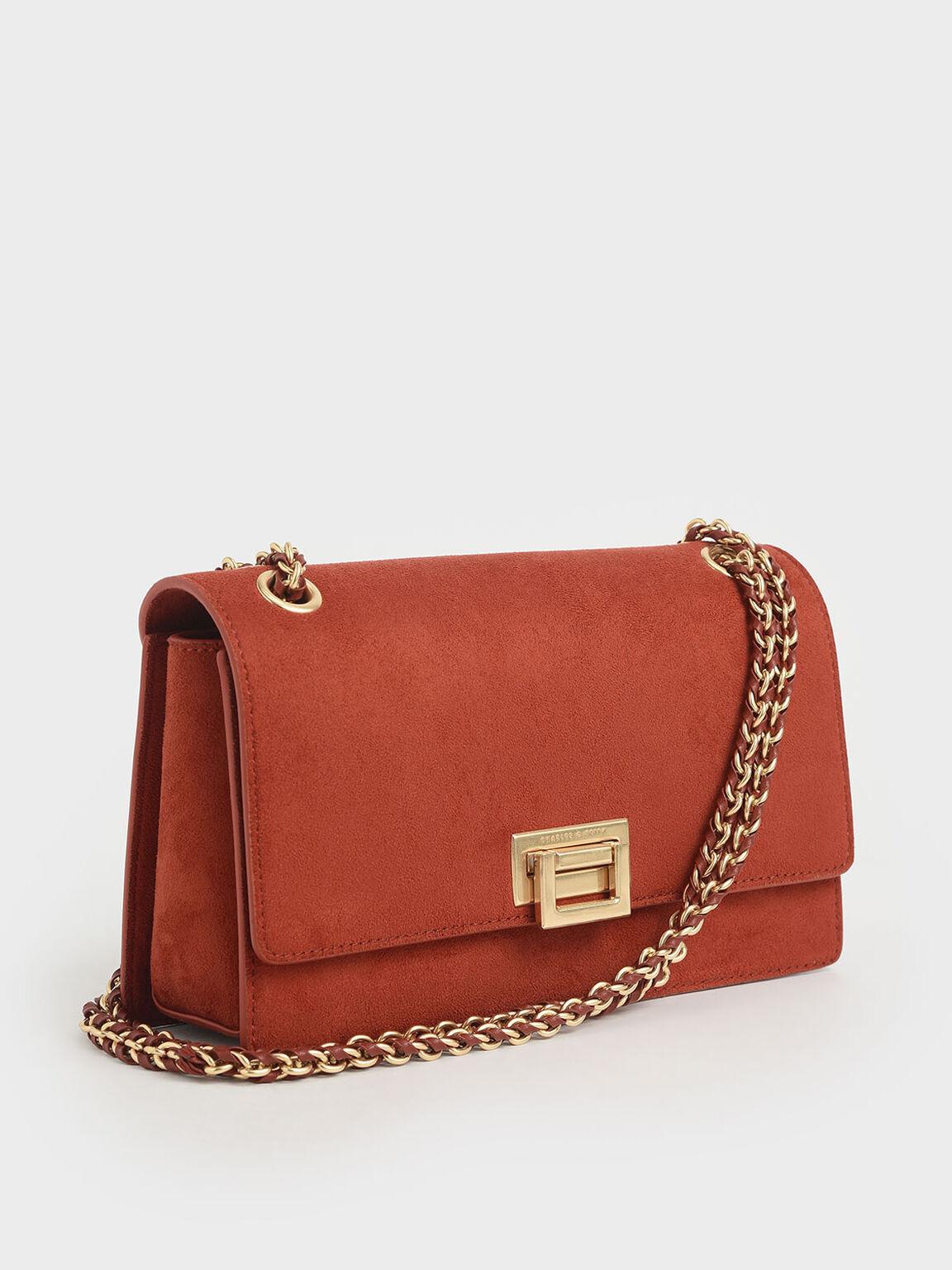 Textured Chain Handle Bag, Clay, hi-res