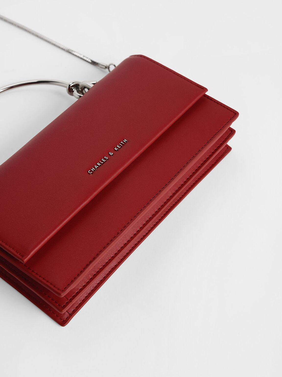 Demi Metal Top Handle Long Wallet, Red, hi-res
