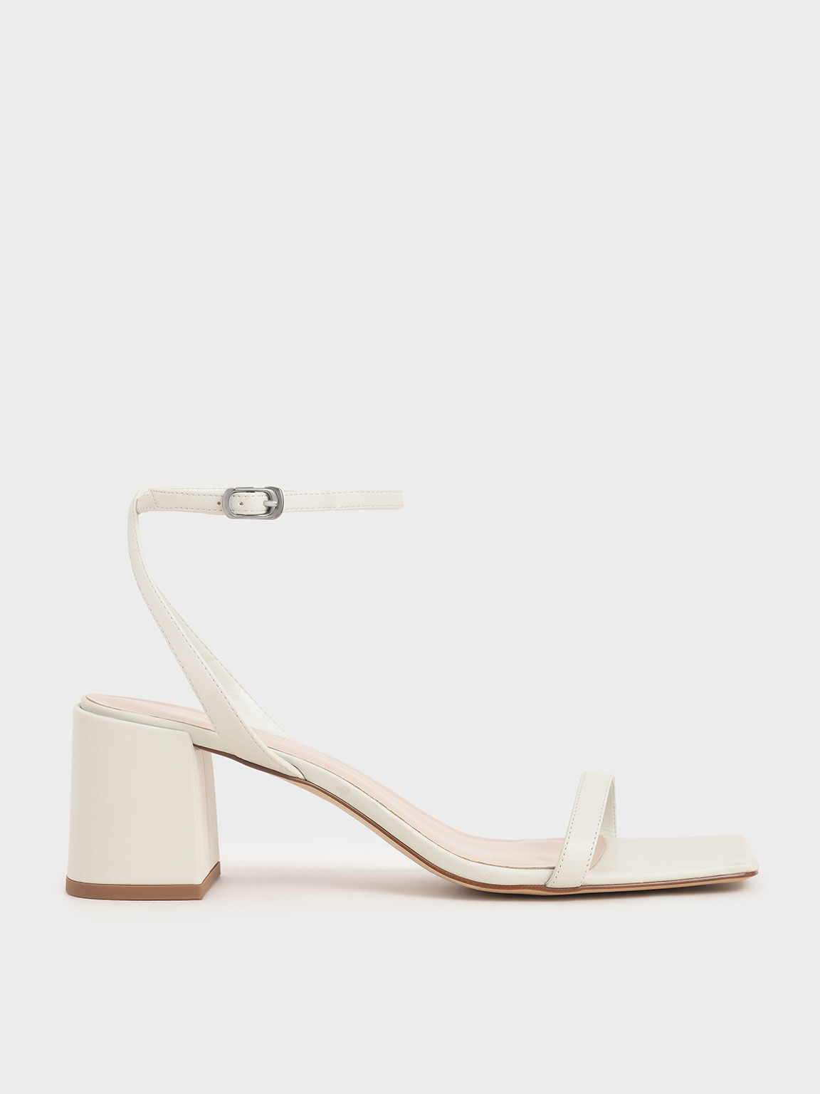 Ankle Strap Block Heel Sandals, White, hi-res