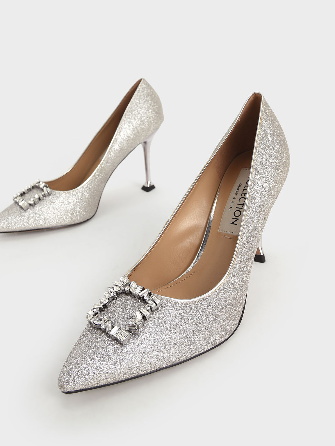 Wedding Collection: Glitter Gem-Embellished Court Shoes, Silver, hi-res