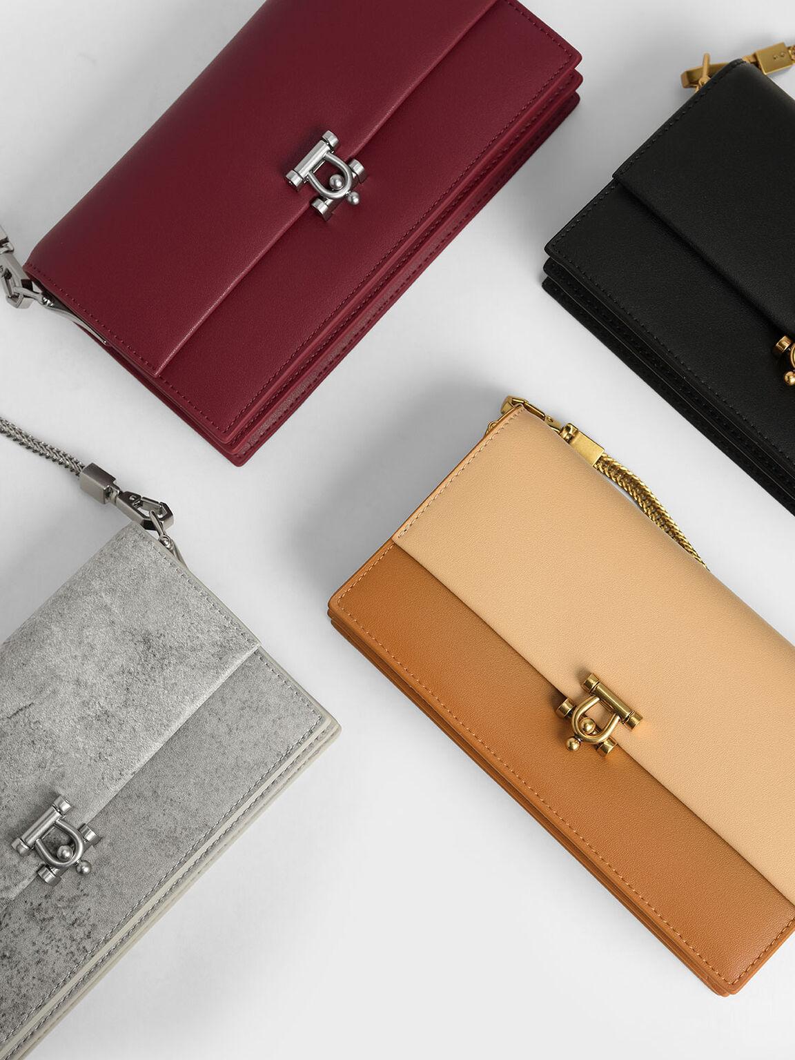Metallic Accent Long Wallet, Berry, hi-res