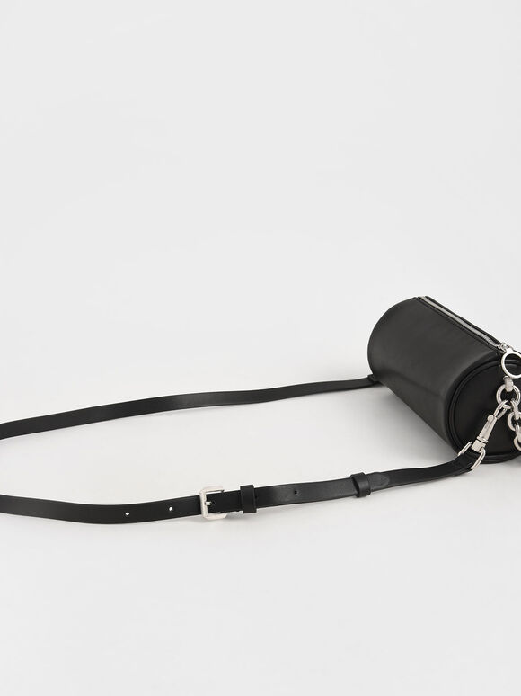 Chain Handle Crossbody Bag, Black, hi-res