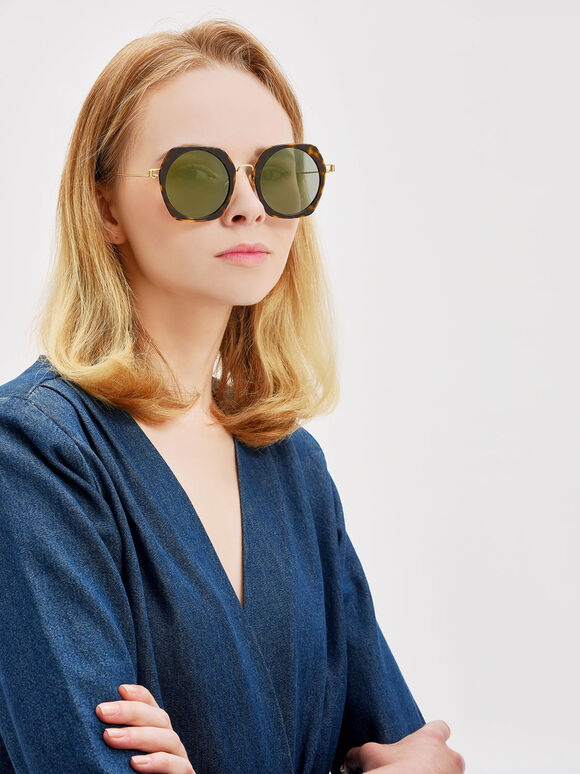 Geometric Frame Sunglasses, T. Shell, hi-res