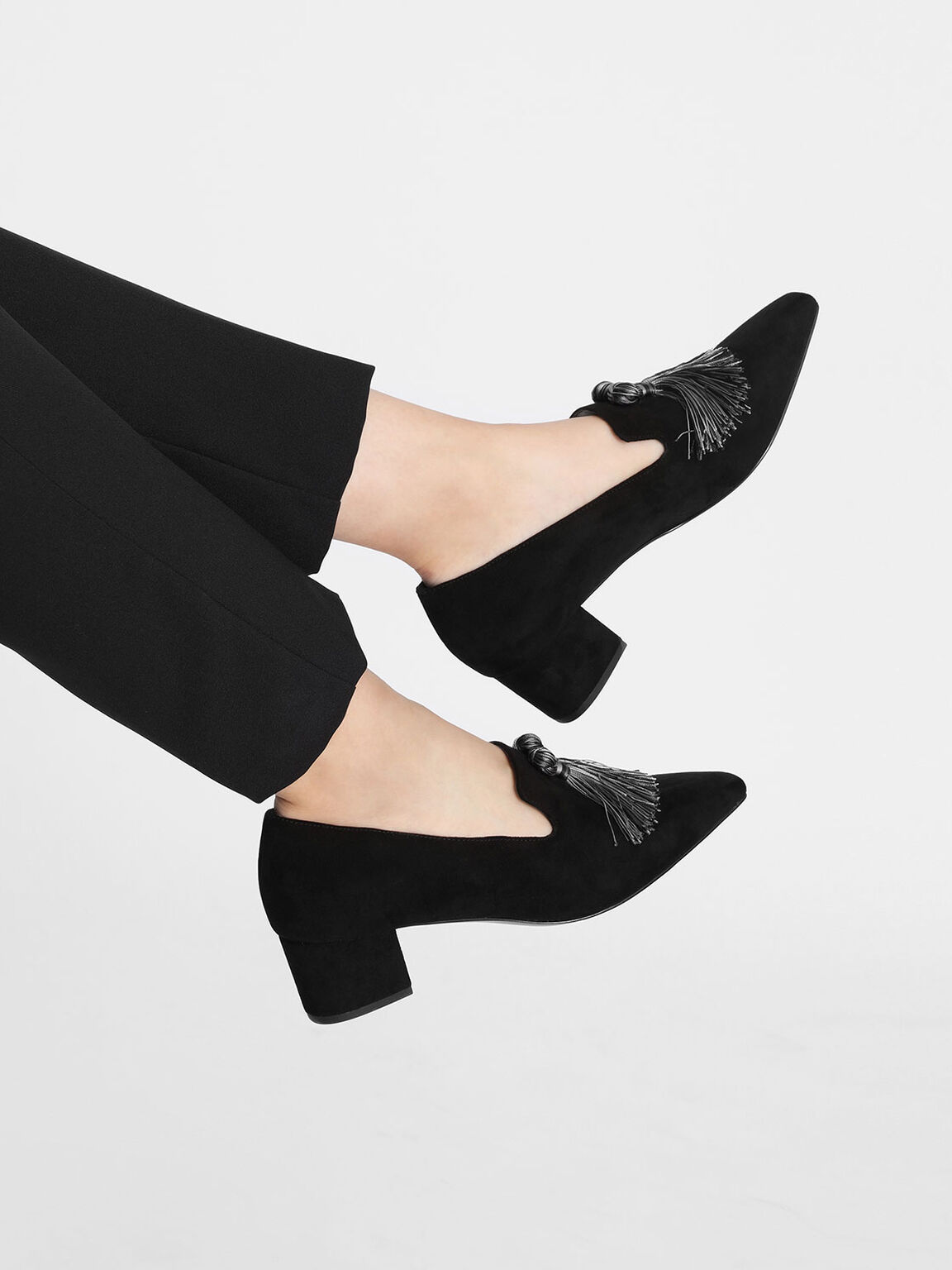 Tassel Detail Heeled Loafers, Black, hi-res