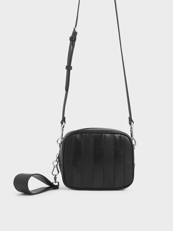 Leather Mini Crossbody Bag, Black, hi-res