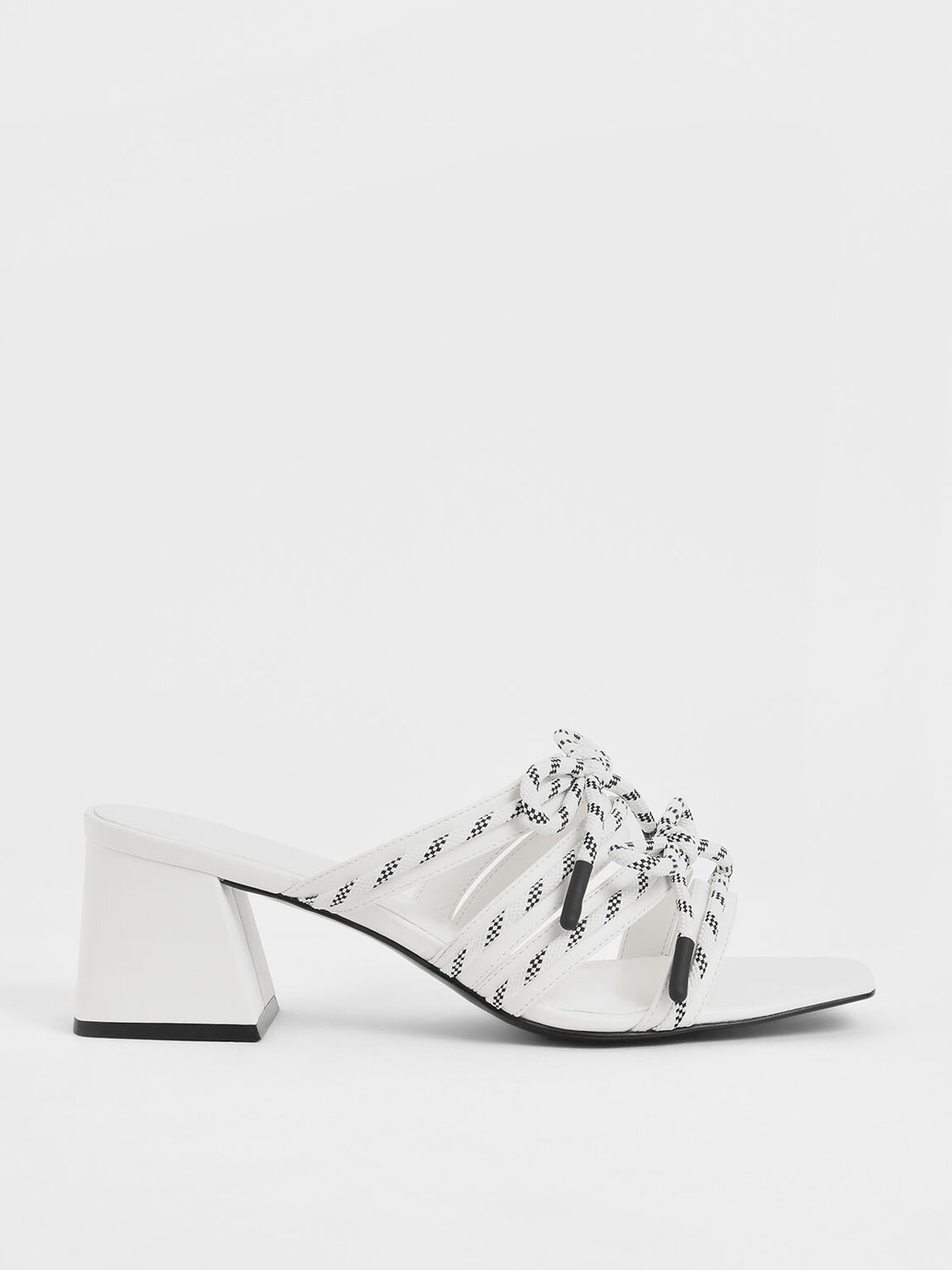 Nylon Lace Strap Slide Sandals, White, hi-res