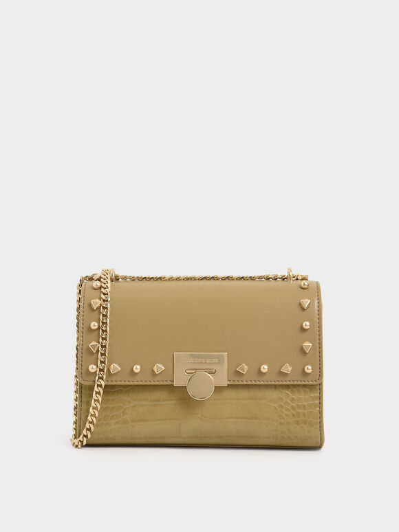 Croc-Effect Embellished Clutch, Sand, hi-res