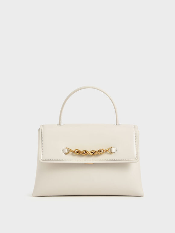 Chain-Embellished Trapeze Top Handle Bag, Cream, hi-res