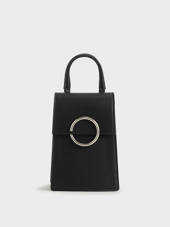 Ring Detail Elongated Bag, Black, hi-res