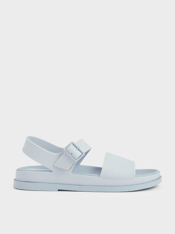 Buckle Strap Flatform Sandals, Light Blue, hi-res