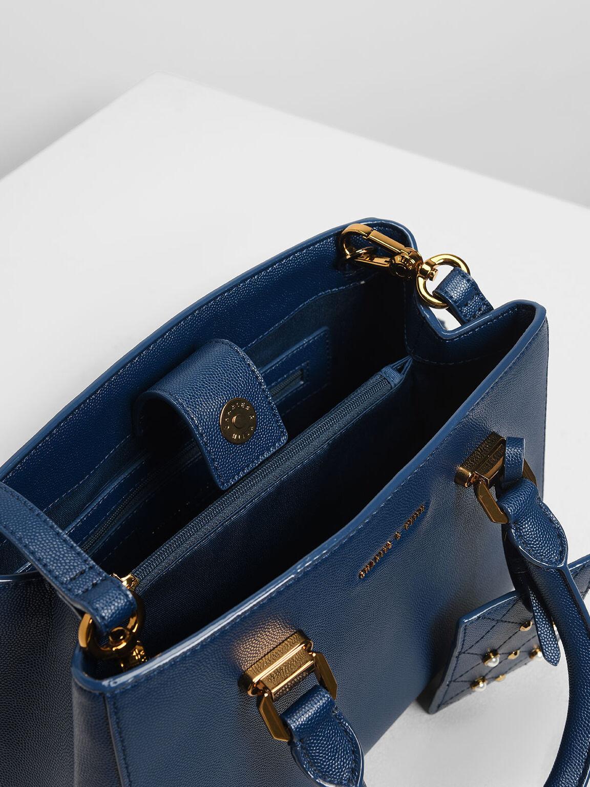 Classic Top Handle Bag, Dark Blue, hi-res