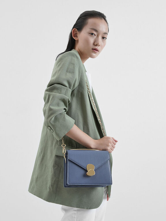 Metallic Push Lock Top Handle Bag, Blue