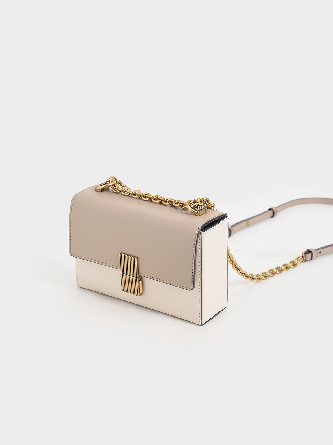 Metallic Push-Lock Clutch, Sand, hi-res