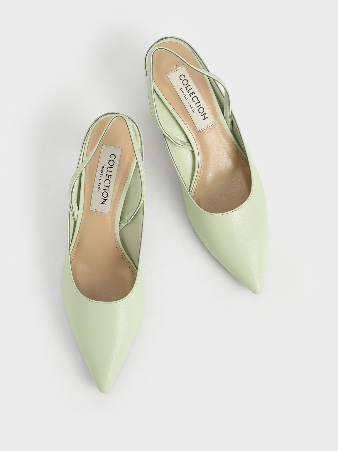 Leather Sculptural Heel Slingback Pumps, Green, hi-res