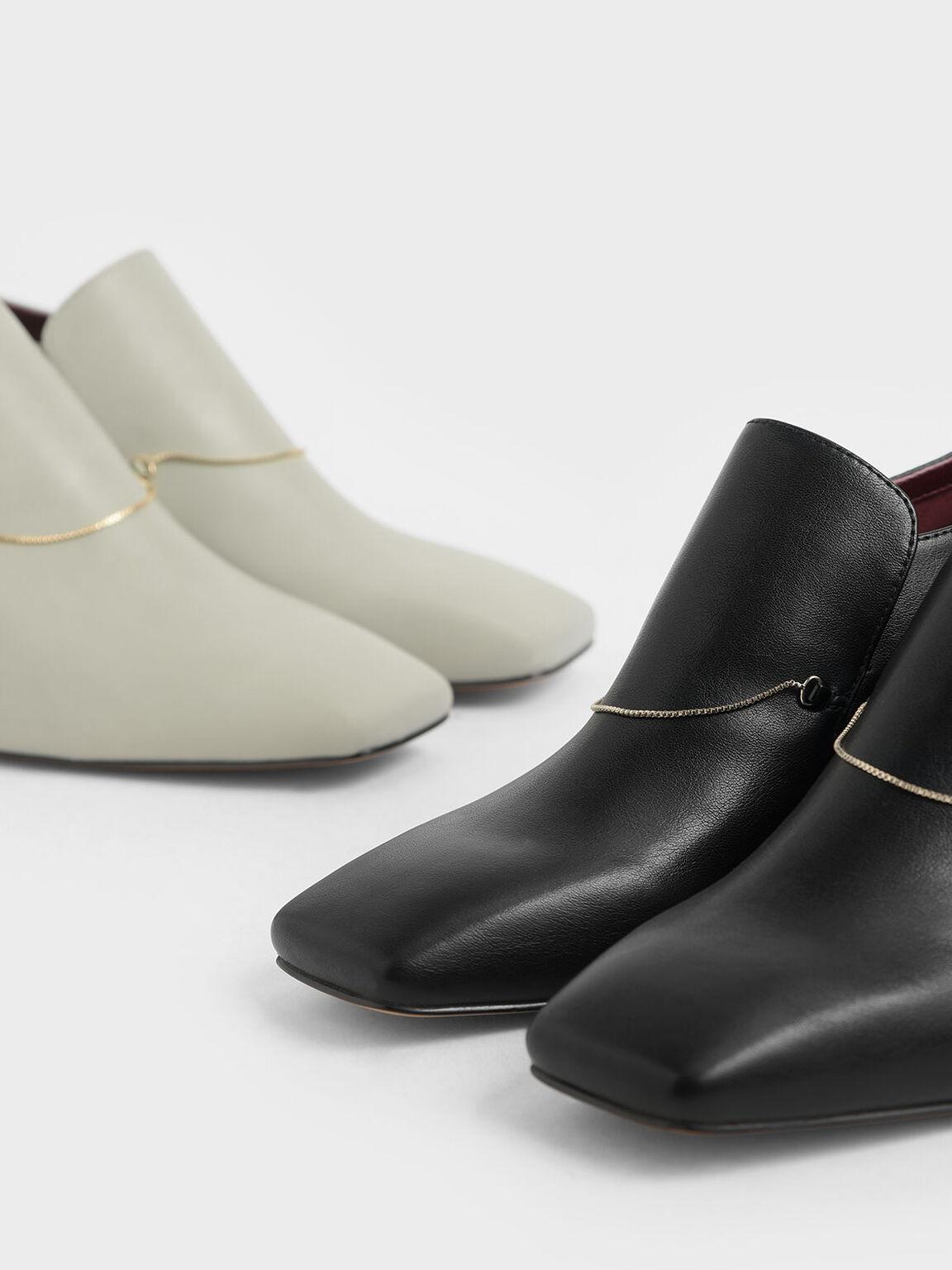 Chain Link Block Heel Loafers, Black, hi-res