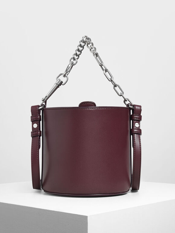 Chunky Chain Handle Bucket Bag, Prune, hi-res