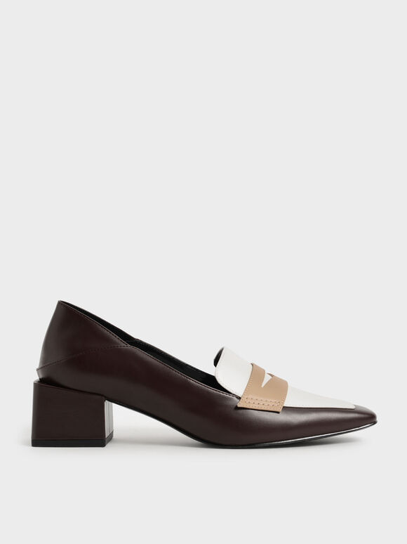 Block Heel Penny Loafers, Multi, hi-res