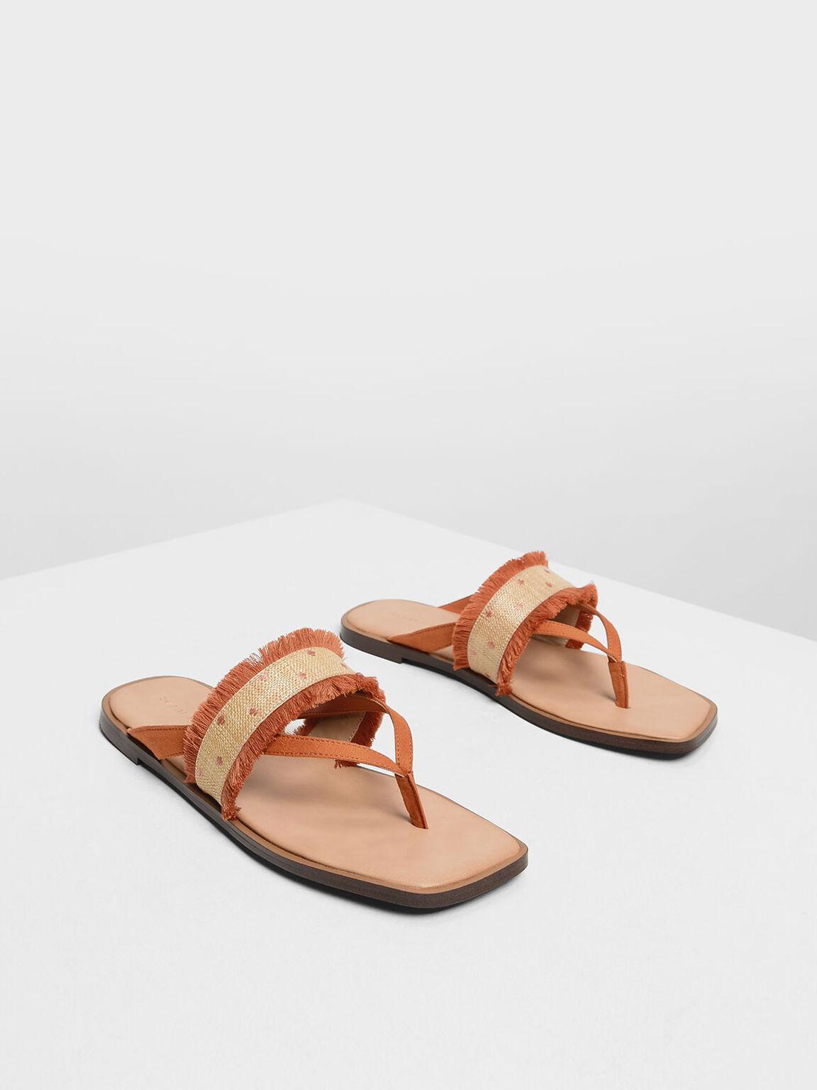 Raffia Frayed Thong Sandals, Orange, hi-res