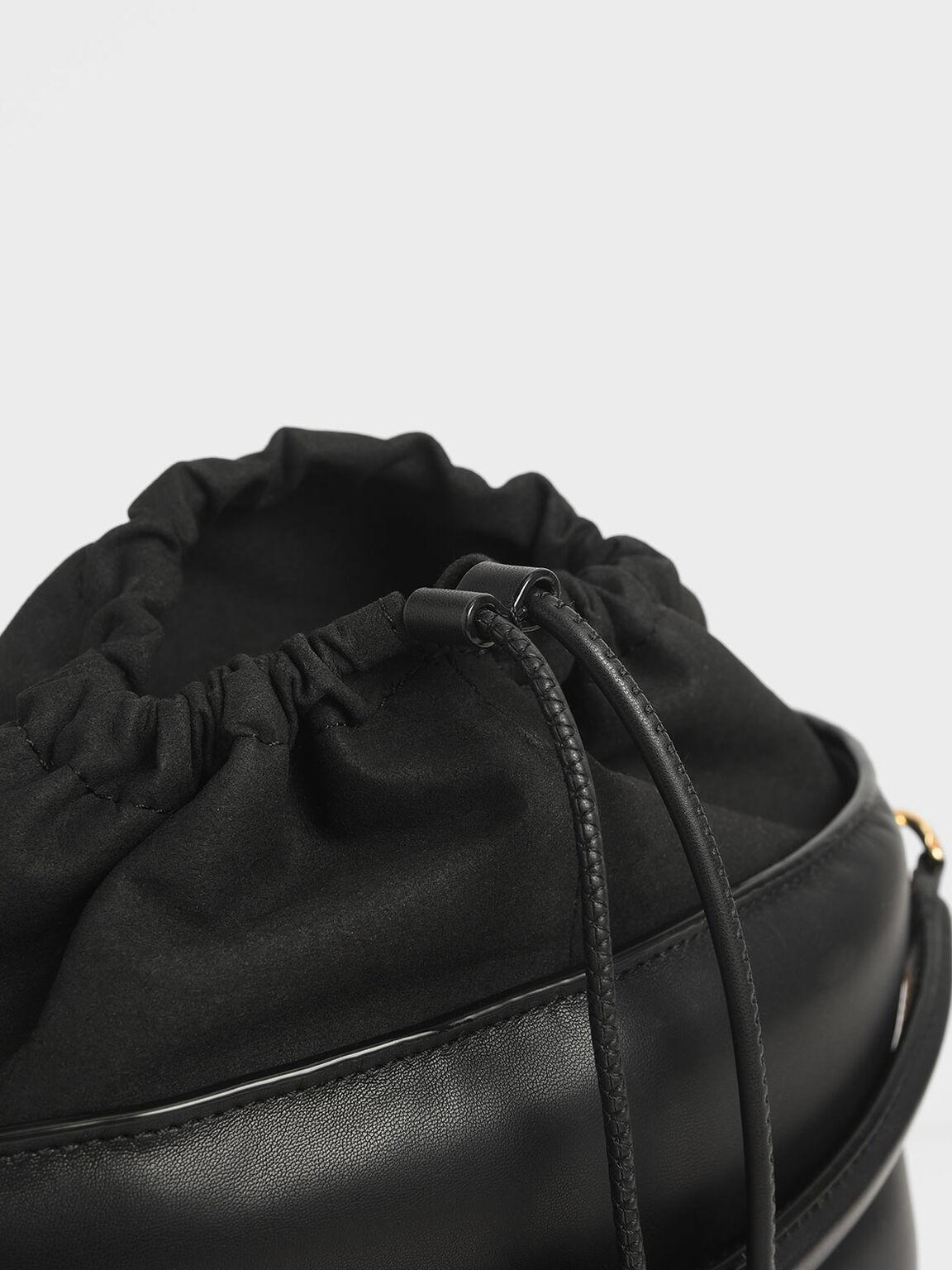 縫線水桶包, 黑色, hi-res