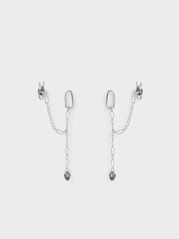 Crystal Embellished Ear Cuff Drop Earrings, Silver, hi-res