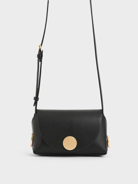 Metal Accent Mini Crossbody Bag, Black, hi-res