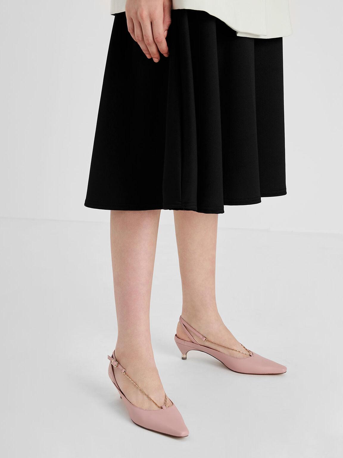 鍊條細跟涼鞋, 膚色, hi-res