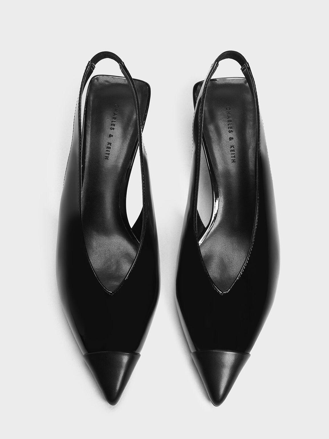 尖頭低跟鞋, 黑色, hi-res