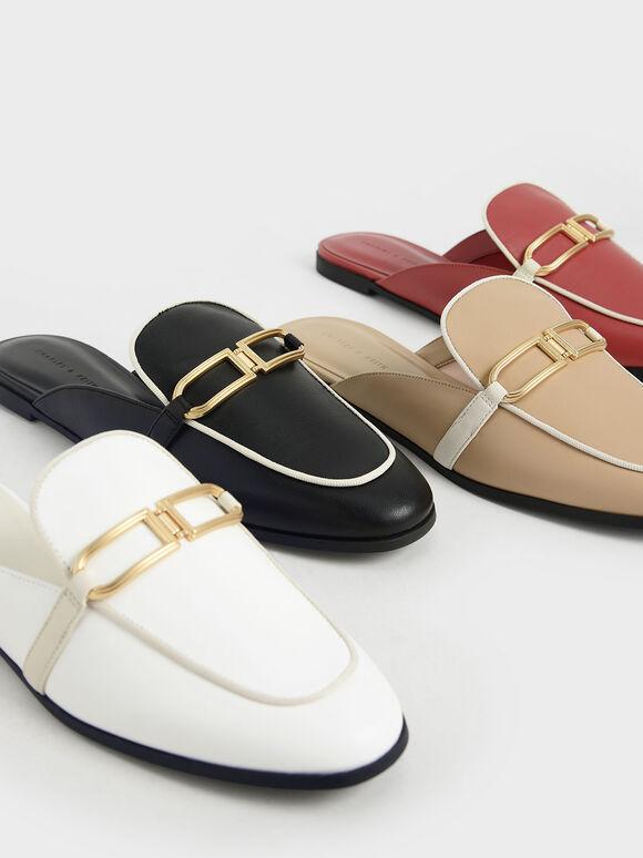 金屬釦穆勒鞋, 米黃色, hi-res
