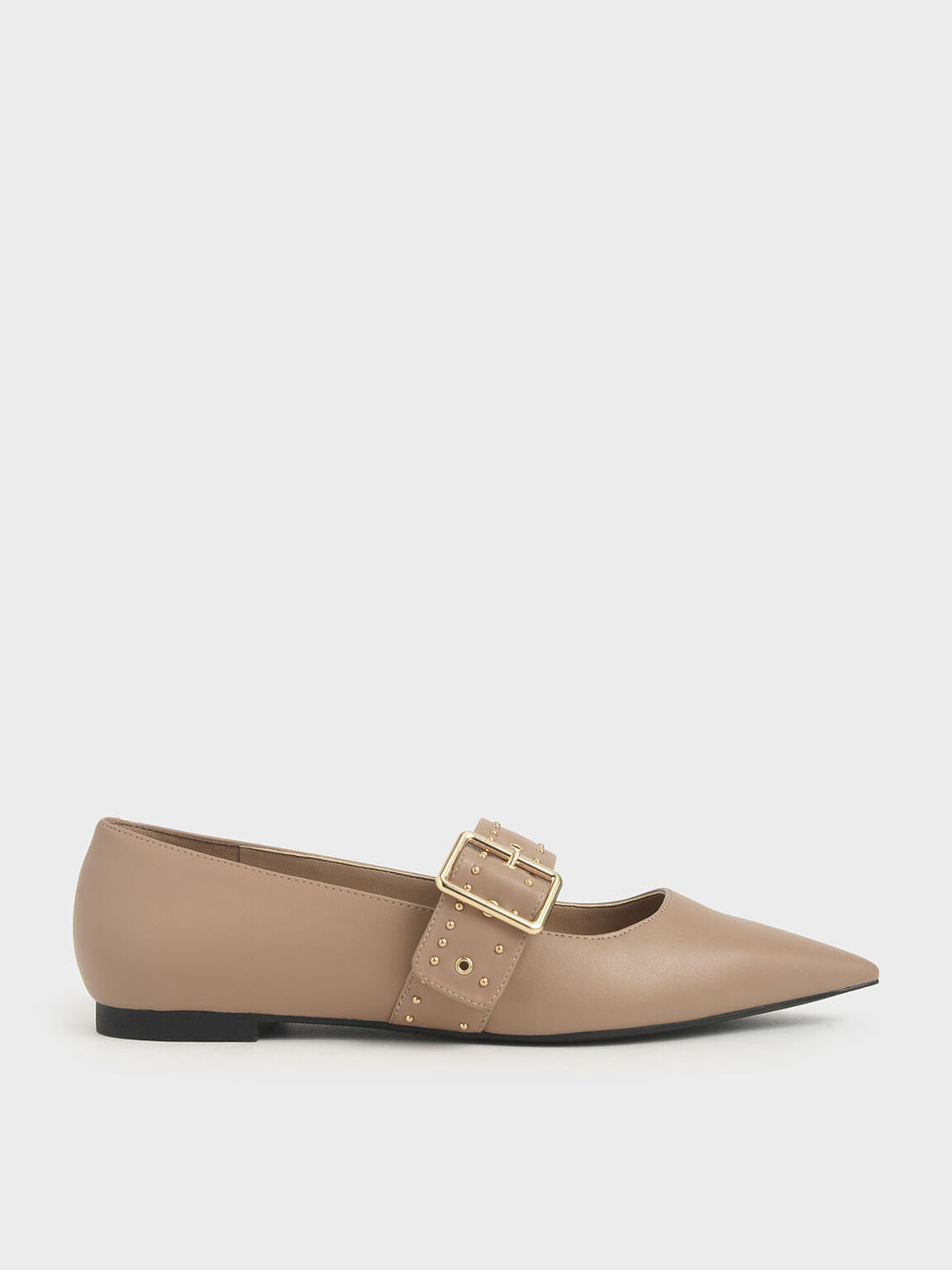 Studded Mary Jane Ballerina Flats, Nude, hi-res