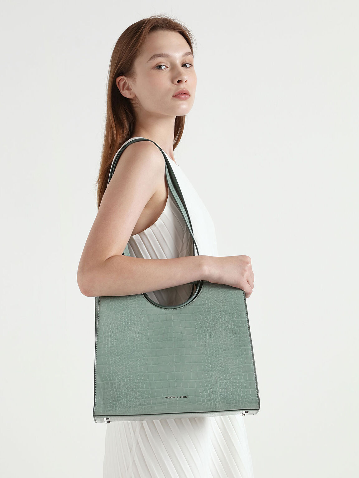 Croc-Effect Double Top Handle Structured Tote, Sage Green, hi-res