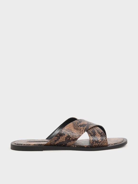 Snake Print Criss Cross Slide Sandals, Brown, hi-res