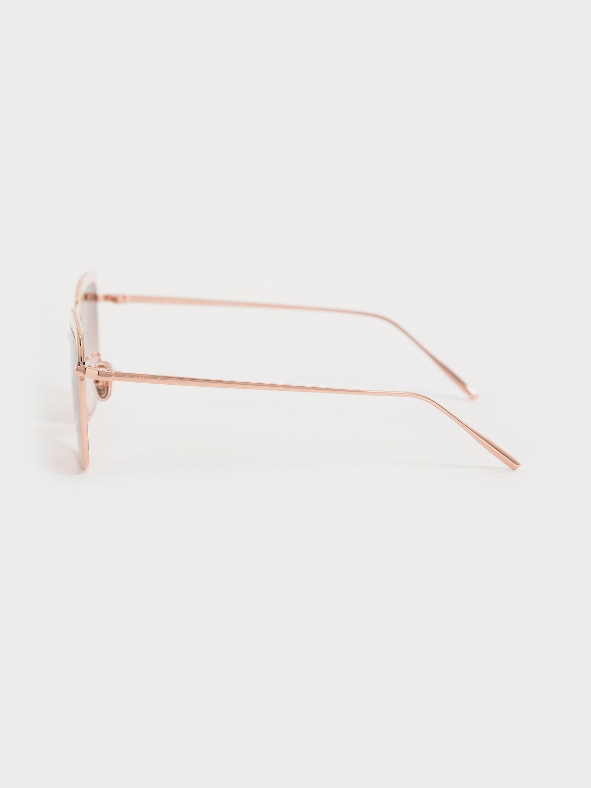 拼接方框墨鏡, 奶油色, hi-res